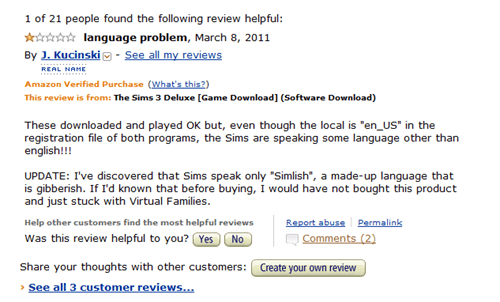 reviews,languages,amazon,Simlish,The Sims