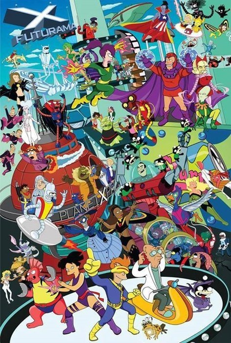 crossover,xmen,fan art,futurama