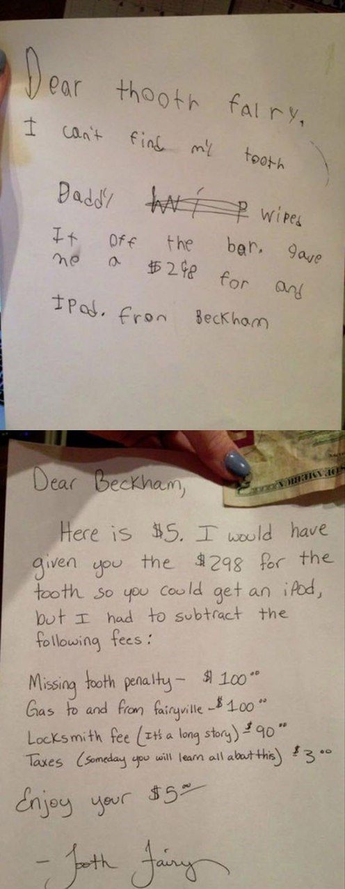 notes from kids,toothfairy,funny,g rated,parenting
