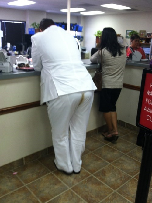funny,white suits,poop stains