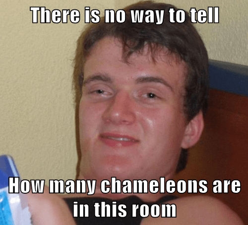 There is no way to tell  How many chameleons are in this room