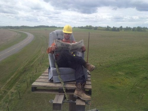 relaxing,work,power line,construction,funny