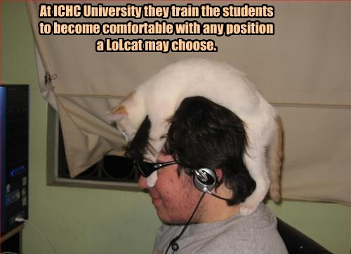 At ICHC University they train the students to become comfortable with any position a LoLcat may choose.