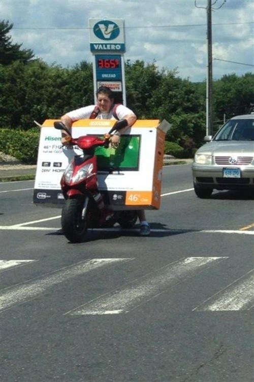 moped,driving,special delivery,dangerous,funny