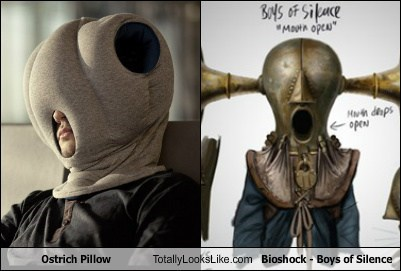 ostrich pillow,totally looks like,bioshock,funny