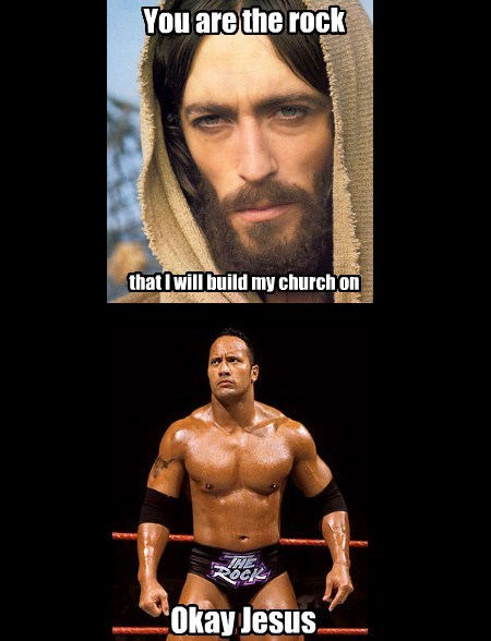 jesus,cooking,puns,church,the rock,funny
