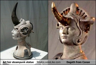 Art fair steampunk statue Totally Looks Like Dagoth from Conan
