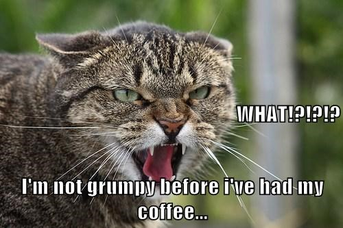 WHAT!?!?!? I'm not grumpy before i've had my coffee...