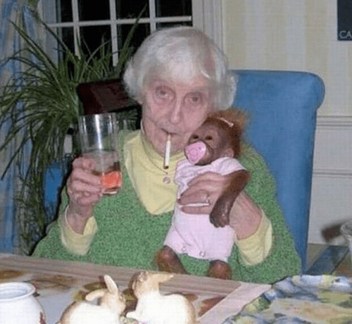 monkeys,wtf,old people,smoking,funny