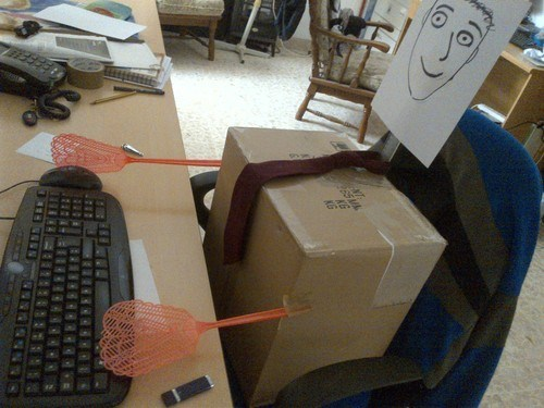 fake worker,dummies,cardboard,monday thru friday,g rated