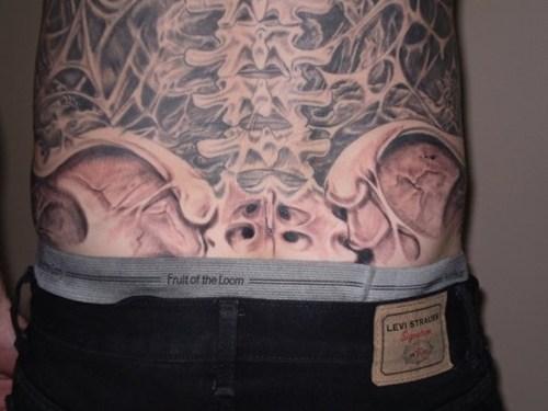 tattoos,spines,back tattoos,funny