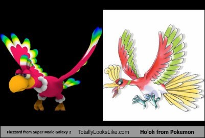 Fluzzard from Super Mario Galaxy 2 Totally Looks Like Ho'oh from Pokemon