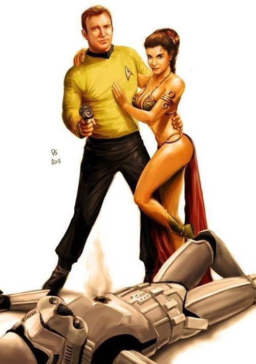 star wars,kirk,Star Trek,Princess Leia
