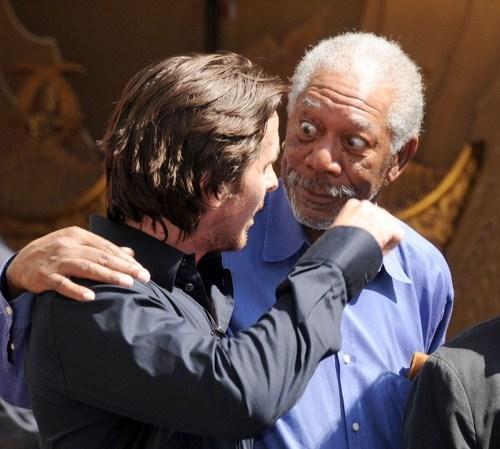 dark knight,christian bale,Morgan Freeman,celeb