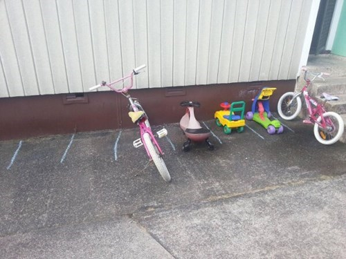 kids,bikes,funny,parking,g rated,parenting