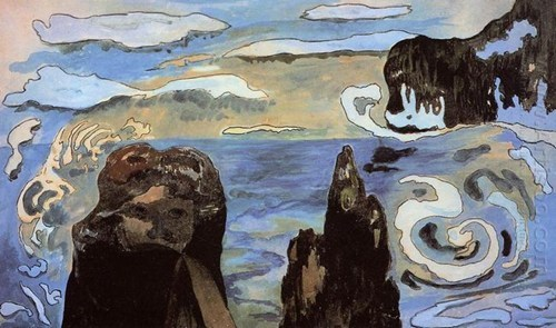 At the Black Rocks 1889 by Paul Gauguin