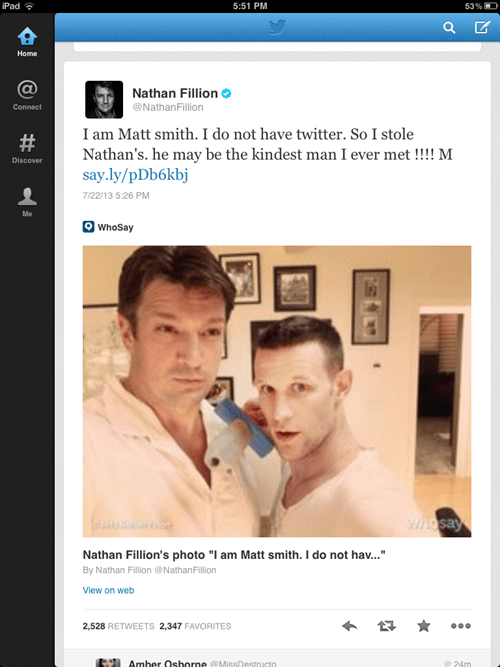 twitter,nathan fillion,Matt Smith,doctor who