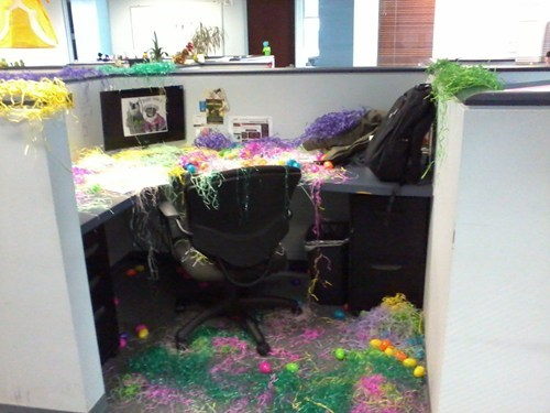 easter,office pranks,cubicle pranks