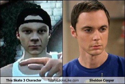 Sheldon Cooper,big bang theory,skate 3,totally looks like,funny