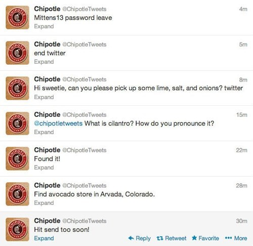 twitter,please twitter end twitter,chipotle twitter hack,chipotle,hacked,fake twitter hack