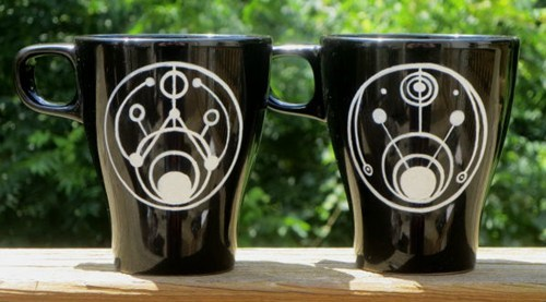 "Hand painted Doctor Who Gallifreyan ""Lord"" and ""Lady"" set of two mugs."