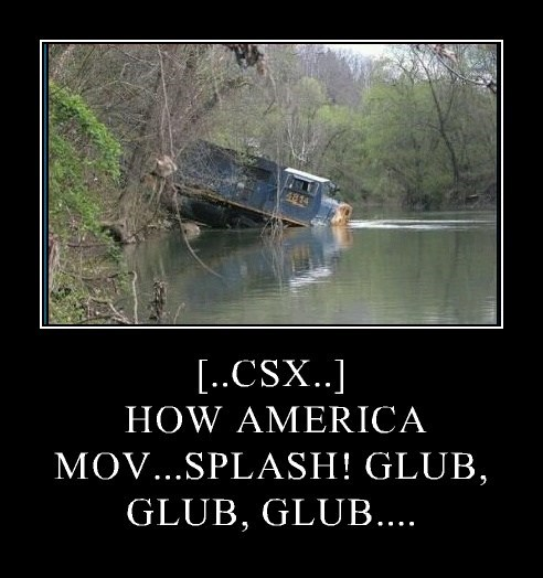 [..CSX..]   HOW AMERICA MOV...SPLASH! GLUB, GLUB, GLUB....