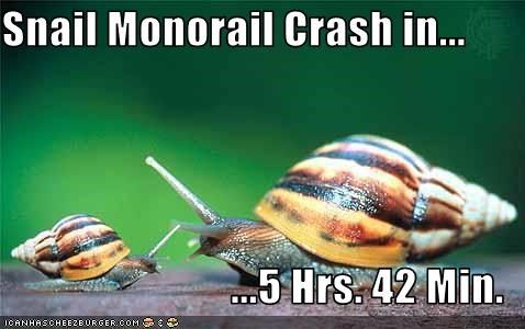 Snail Monorail Crash in...  ...5 Hrs. 42 Min.