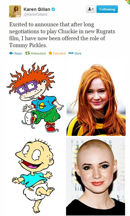 Karen Gillan Makes 'Rugrats' Joke