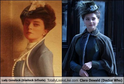 clara oswald,bioshock infinite,totally looks like,lady comstock,doctor who,funny