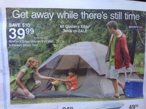 advertisement,camping,funny,newspaper