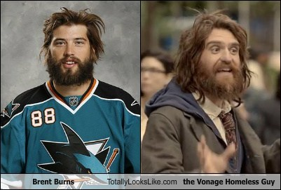 Brent Burns Totally Looks Like the Vonage Homeless Guy