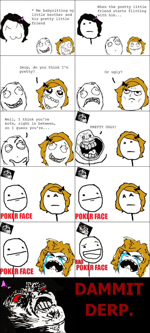 poker face,bad poker face,little brothers,Rage Comics