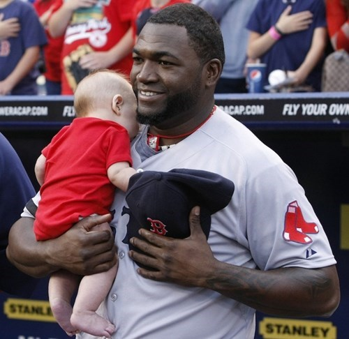 David Ortiz Gets a Baby During the National Anthem, Cuteness Ensues