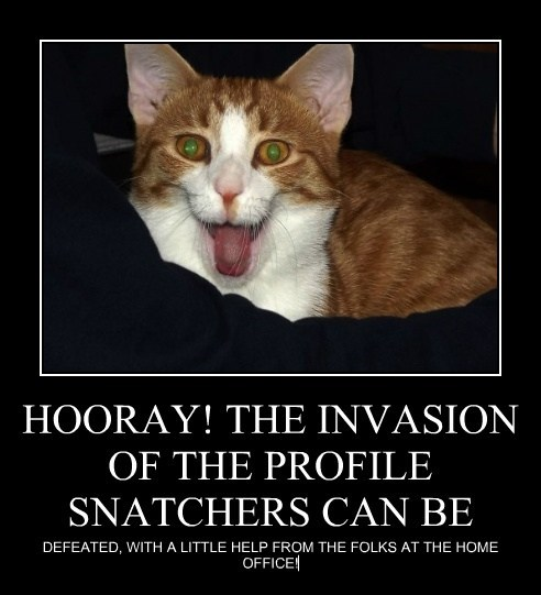 HOORAY! THE INVASION OF THE PROFILE SNATCHERS CAN BE
