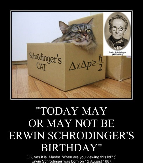 """TODAY MAY OR MAY NOT BE ERWIN SCHRODINGER'S BIRTHDAY"""