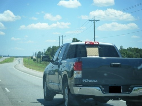 pickup truck,windshield,duct tape,funny,cardboard,there I fixed it
