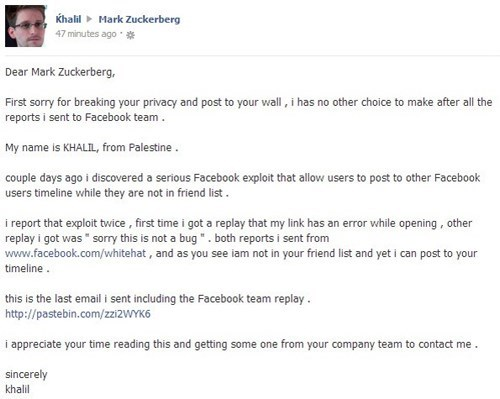 Hack of the Day: Palestinian White Hatter Reports Facebook Wall Bug via Zuckerberg's Wall