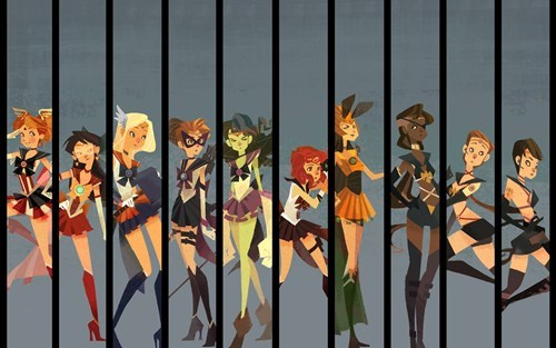 crossover,fan art,sailor moon,avengers
