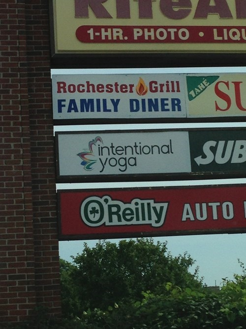 accidental yoga,store signs,intentional yoga,yoga