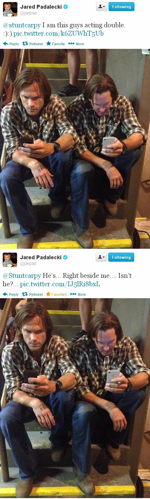 behind the scenes,twitter,stuntman,Supernatural,Jared Padalecki