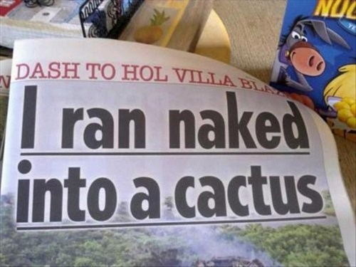 ouch,naked,cactus,newspaper headlines,headlines