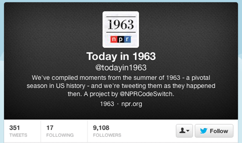 Twitter of the Day: NPR's @Todayin1963 Tweets March On Washington on Anniversary