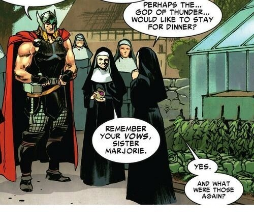 Thor,off the page,nuns,funny