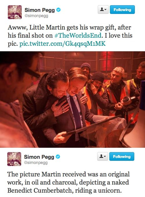 benedict cumberbatch,twitter,Simon Pegg,Martin Freeman,the worlds end