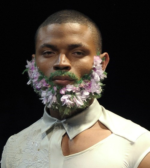 mow,beard,shave,flowers