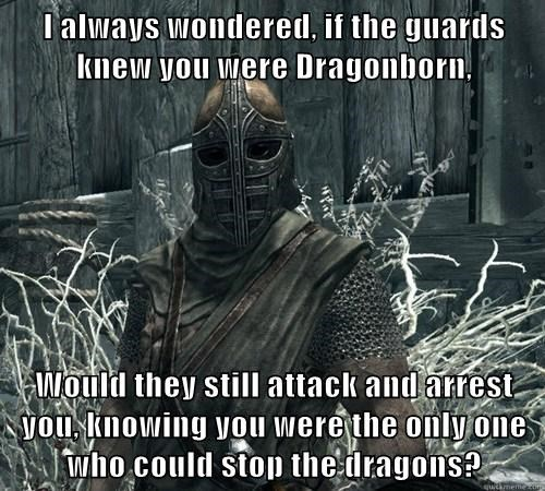 I always wondered, if the guards knew you were Dragonborn,  Would they still attack and arrest you, knowing you were the only one who could stop the dragons?