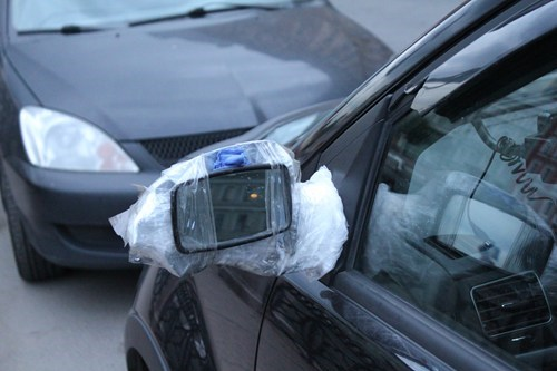 side mirror,cars,plastic wrap,funny,tape,there I fixed it