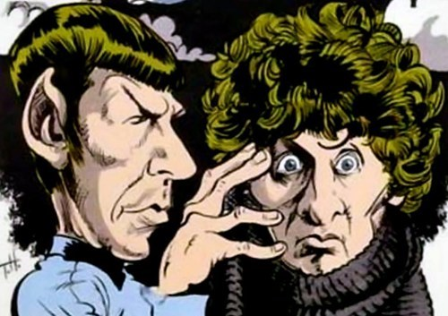 classic who,crossover,Spock,mash up,tom baker