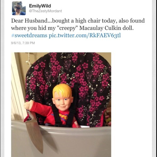 macaulay culkin,twitter,dolls,parenting,high chair,funny