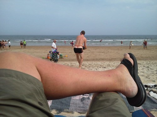Mr. Red Thong at the Beach